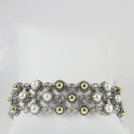 Lagos Lagos Sterling Silver 18K 3-Row Gold Dome Pearl Bracelet Image 2