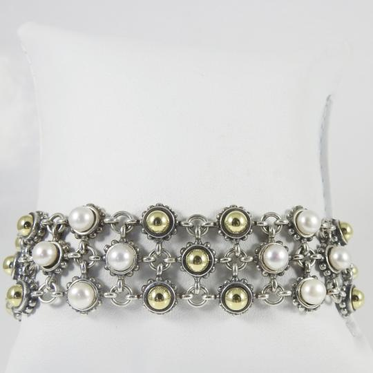Lagos Lagos Sterling Silver 18K 3-Row Gold Dome Pearl Bracelet Image 3