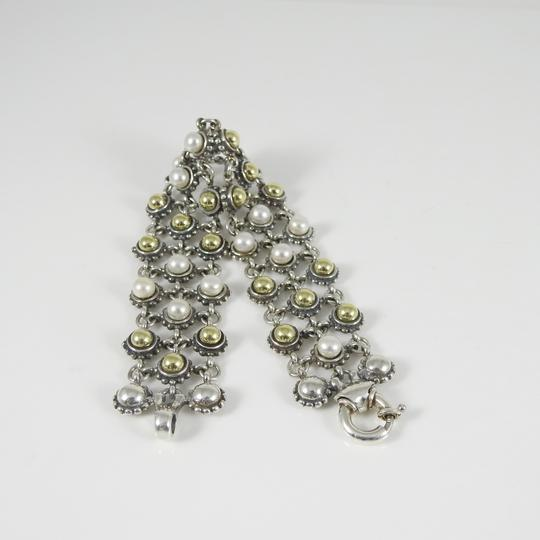 Lagos Lagos Sterling Silver 18K 3-Row Gold Dome Pearl Bracelet Image 6