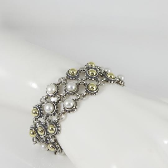 Lagos Lagos Sterling Silver 18K 3-Row Gold Dome Pearl Bracelet Image 7