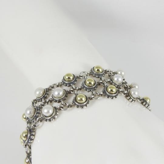 Lagos Lagos Sterling Silver 18K 3-Row Gold Dome Pearl Bracelet Image 8