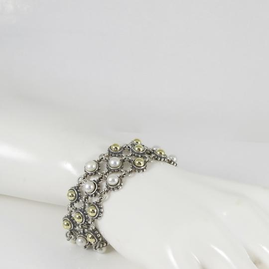 Lagos Lagos Sterling Silver 18K 3-Row Gold Dome Pearl Bracelet Image 9