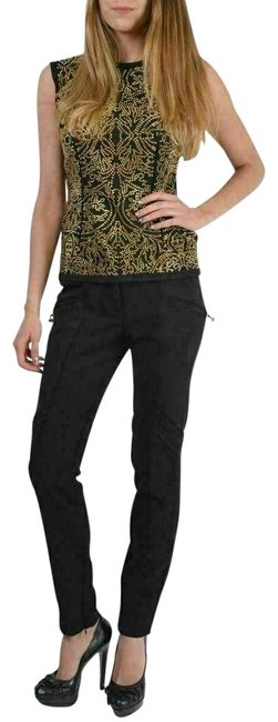 Item - Black Quilted Patches Zip Ankle Two Pockets Casual Pants Size 4 (S, 27)