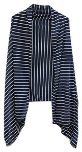 Nautical Stripe Navy Blue Cardigan Vest Cover Up