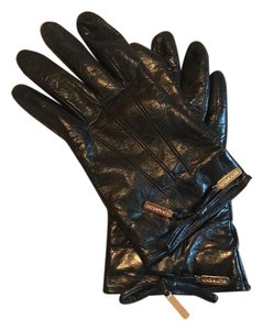Coach coach bow leather gloves