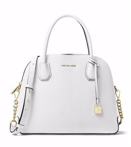Michael Kors Mercer Large Dome Ballet Pink Satchel in optic white