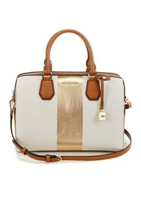 michael kors Mercer Center Duffle Satchel in stripe vanilla pale gold