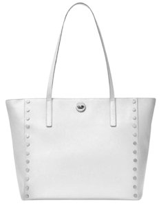 b4632e32bc1d Michael Kors Rivington Studed Large Saffiano Optic White Leather Tote 59%  off retail
