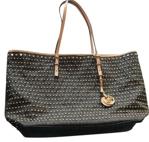 83ccaa642df38 Michael Kors Limited Edition Studs Gold Monogram Tote in Brown