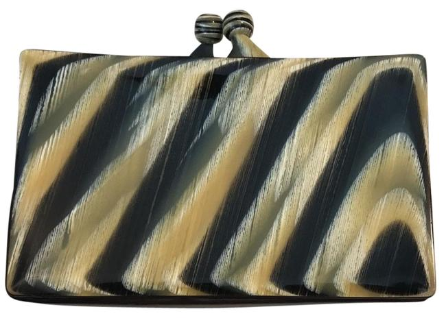 Item - Going Out Green Brown White and Yellow Calfskin Leather Clutch