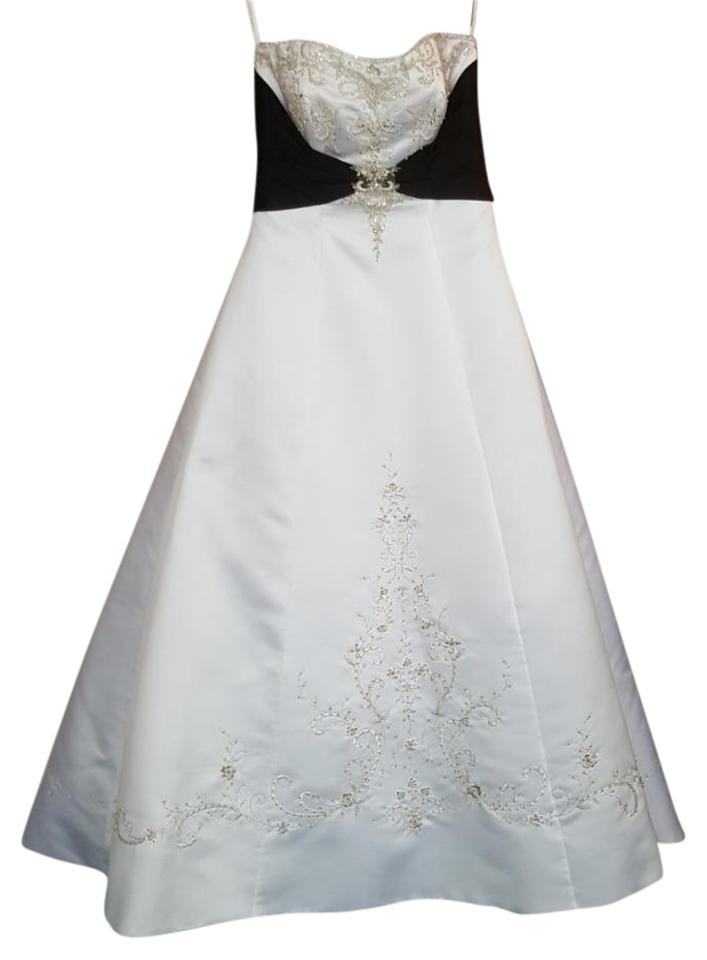 Alfred angelo white black satin 1139 traditional wedding for Alfred angelo black and white wedding dress