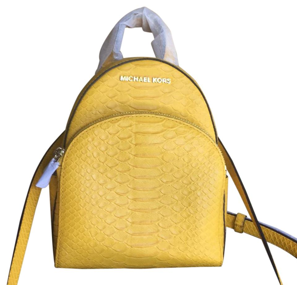 6cbad5eb1c Michael Kors Abbey Sunflower Yellow Embossed Leather Backpack - Tradesy