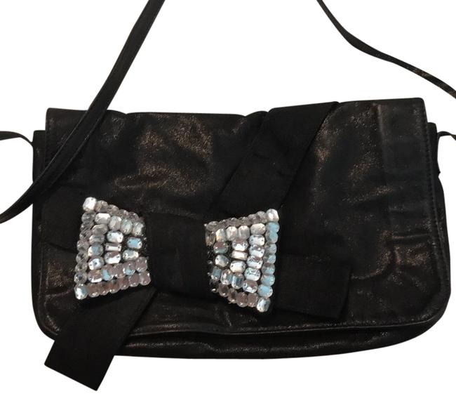 Item - Over The Shoulder Go Out Black with Reflective Gold Leather Cross Body Bag