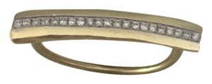 Meira T 14 kt yellow gold long bar across finger diamond ring