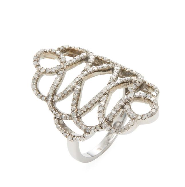 Item - Diamond/Silver With Pave Details Ring