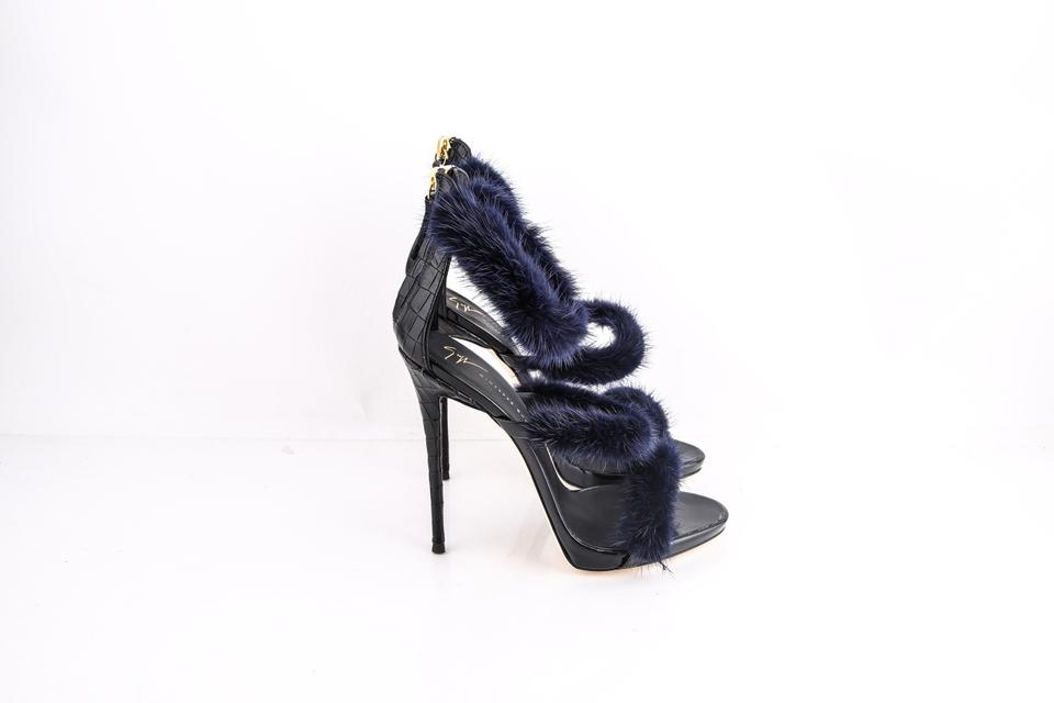 1832251b7b1dc Giuseppe Zanotti Black Genuine Mink Fur Triple Band Sandals Size US 8.5  Regular (M, B) - Tradesy
