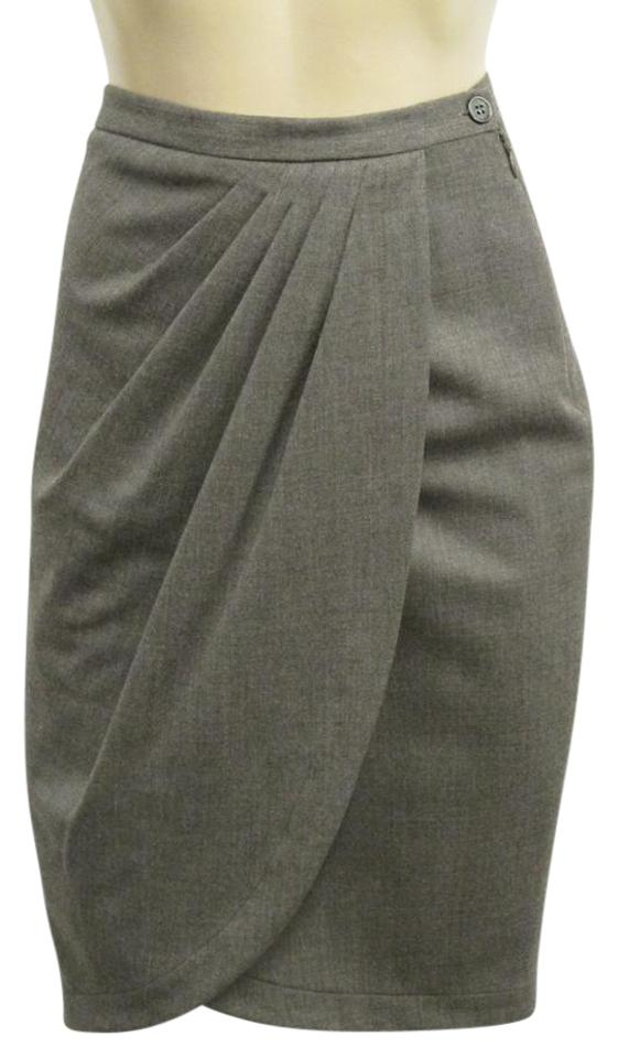 a805d28ff891 Michael Kors Collection Brown Italy Wool Blend Chestnut Draped - Skirt