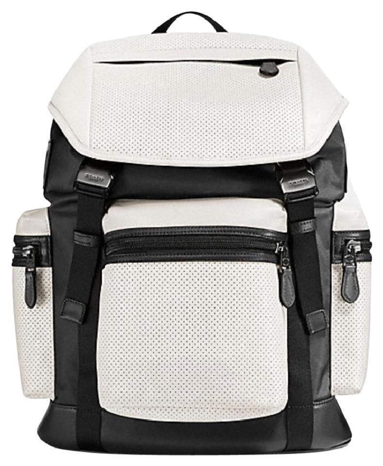 Perfect Coach F57477 Trek Perforated Travel Pack White Leather Backpack  WG19
