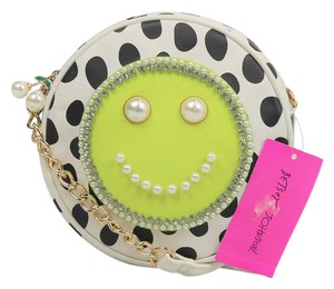 Betsey Johnson Smiley Face Bedazzled Faux Leather Cross Body Bag