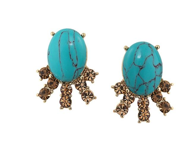 Carolee Blue Gold W Stone Stud Faux Turquoise Dust Bag Earrings Carolee Blue Gold W Stone Stud Faux Turquoise Dust Bag Earrings Image 1