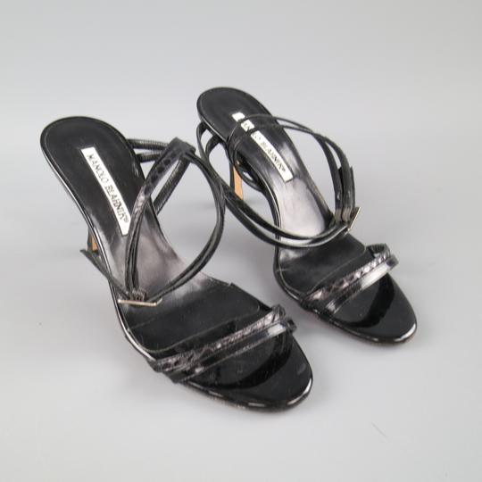 64a9ec056b3e ... Manolo Blahnik Patent Leather Snakeskin Italian Stiletto Strappy Black  Sandals