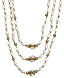 Miriam Haskell Miriam Haskell Goldtone and Faux Pearl Necklace
