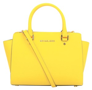 Michael Kors Mk Saffiano Leather Selma Satchel in Yellow