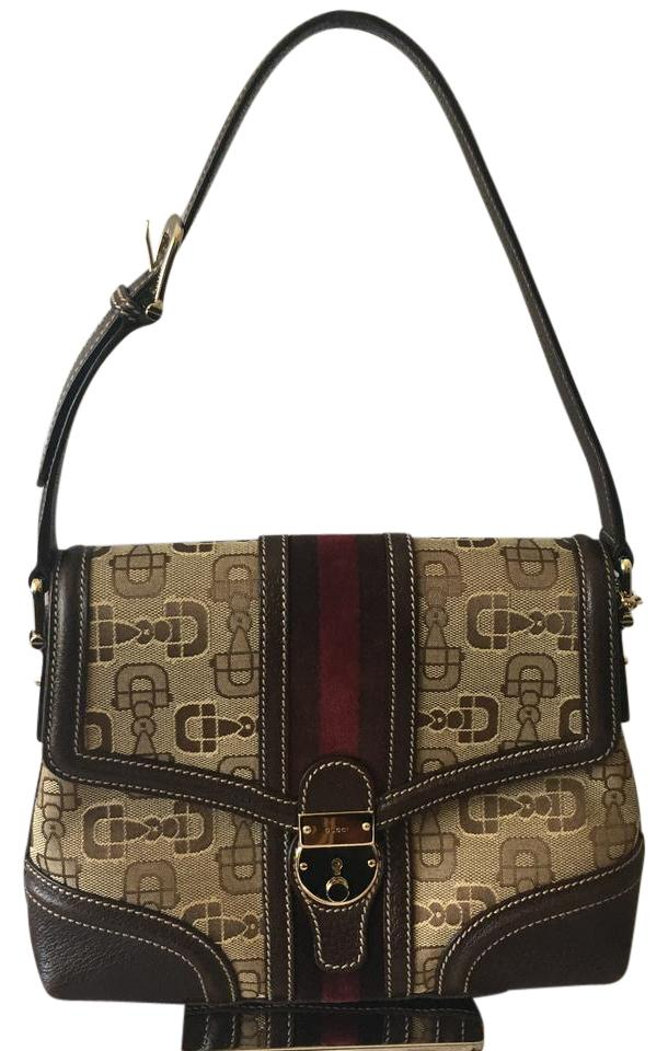792812b3dc6 Gucci Horsebit Vintage Brown Beige and Maroon Webbing Leather Canvas ...