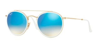 Ray-Ban NEW Ray Ban Rounded Double Bar GOLD / WHITE SUNGLASSES RB 3647N 001/4O