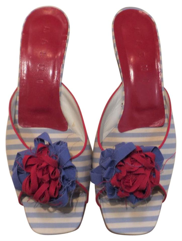 Marni Kitten Flower Embellised Slides Blue White Red Sandals
