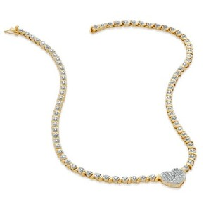 Zales Diamond Accent Heart Necklace In 18k Gold-plated Sterling Silver -17""