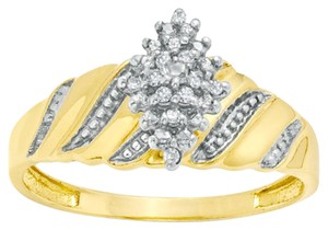 Zales Diamond Accent Marquise Composite Wave Ring in 10K Gold - Size 7
