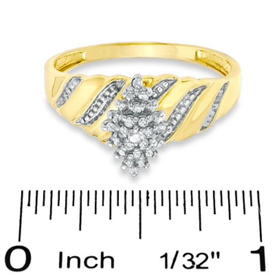 Zales Diamond Accent Marquise Composite Wave Ring in 10K Gold - Size 7 Image 1