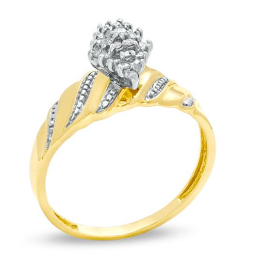 Zales Diamond Accent Marquise Composite Wave Ring in 10K Gold - Size 7 Image 2