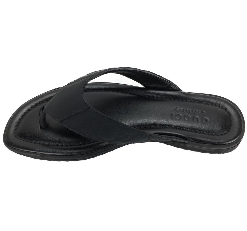 391a559fc83 Gucci Black 363765 Men s Rubberized Leather Gg Guccissima Thong Sandals  Size US 10 Regular (M