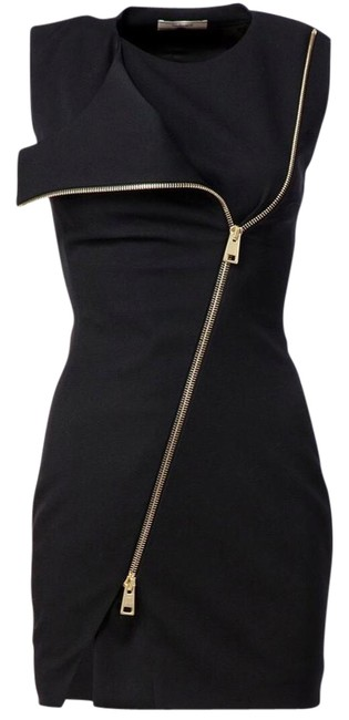 Item - Black Front Zip Fitted Short Cocktail Dress Size 8 (M)