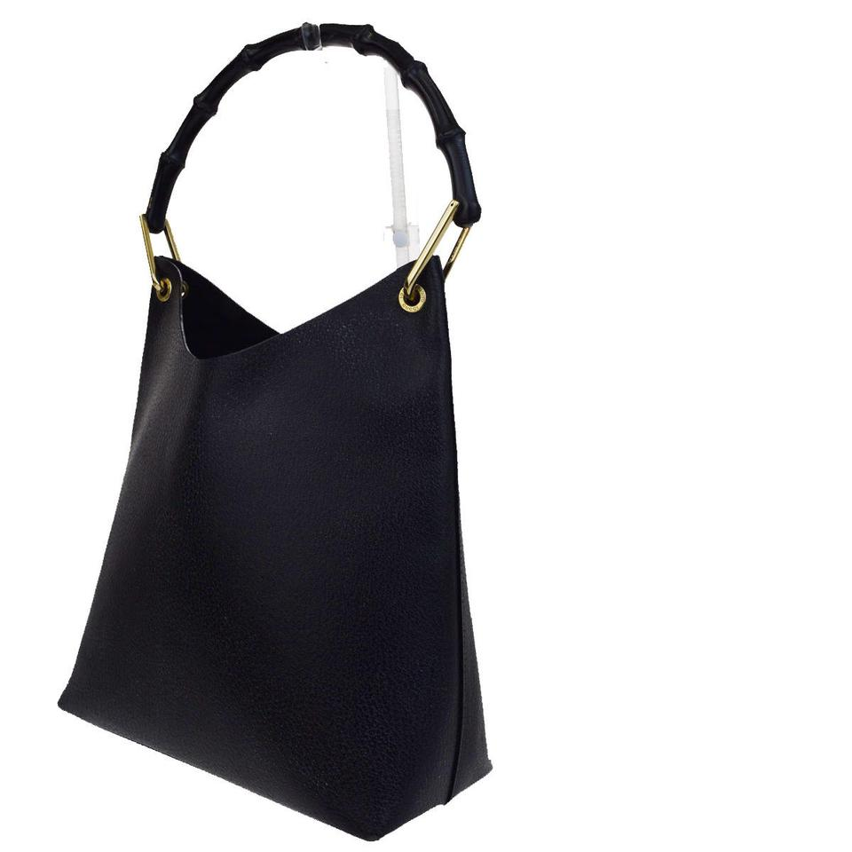 a509a62f Gucci Jackie Logos Bamboo Shoulder In Italy Tote Black Leather Hobo ...