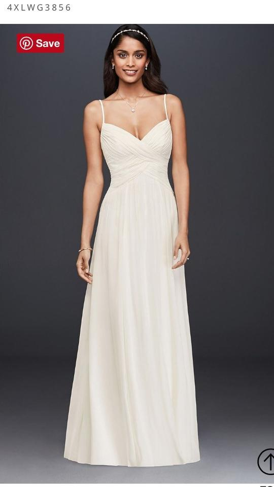 David 39 s bridal ruched bodice wedding dress with a line for Wedding dress on sale