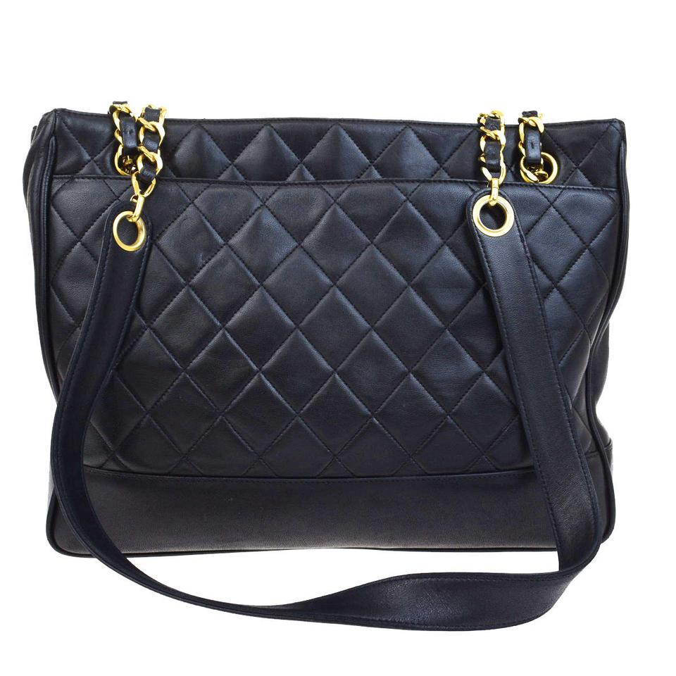 21eee0018bcb0 Chanel Cc Logos Charm Quilted Chain Tote Black Leather Shoulder Bag ...