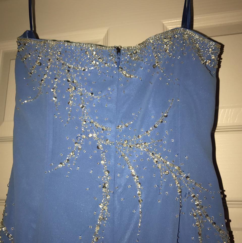 Party Time Formals Blue Strapless Hand Beaded Long Formal Dress Size ...