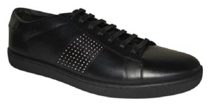 Saint Laurent Leather Sneakers Studded Lace-up Black Athletic
