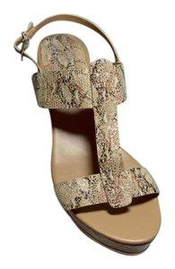 Donald J. Pliner New Cork Wedge Beige/Snake Print Sandals