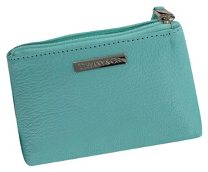 Tiffany & Co. New Tiffany & Co. Blue Grain Leather Zip Cosmetic Bag Case Gift ready