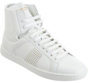 Saint Laurent Leather Sneakers Studded High Top White Athletic