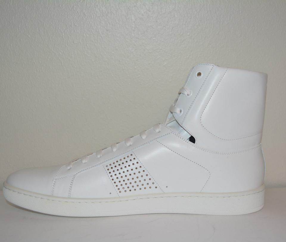 Yves Eu White Hitop Mens Sneakers 5 Sneakers Saint Laurent 45 Studded HgqcU