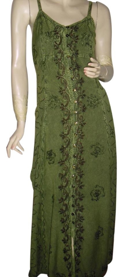 293650832b174 Bohemian Style Olive Green Embroidered Cotton Sundress Hippie Gypsy Long  Casual Maxi Dress Size OS (one size) 58% off retail