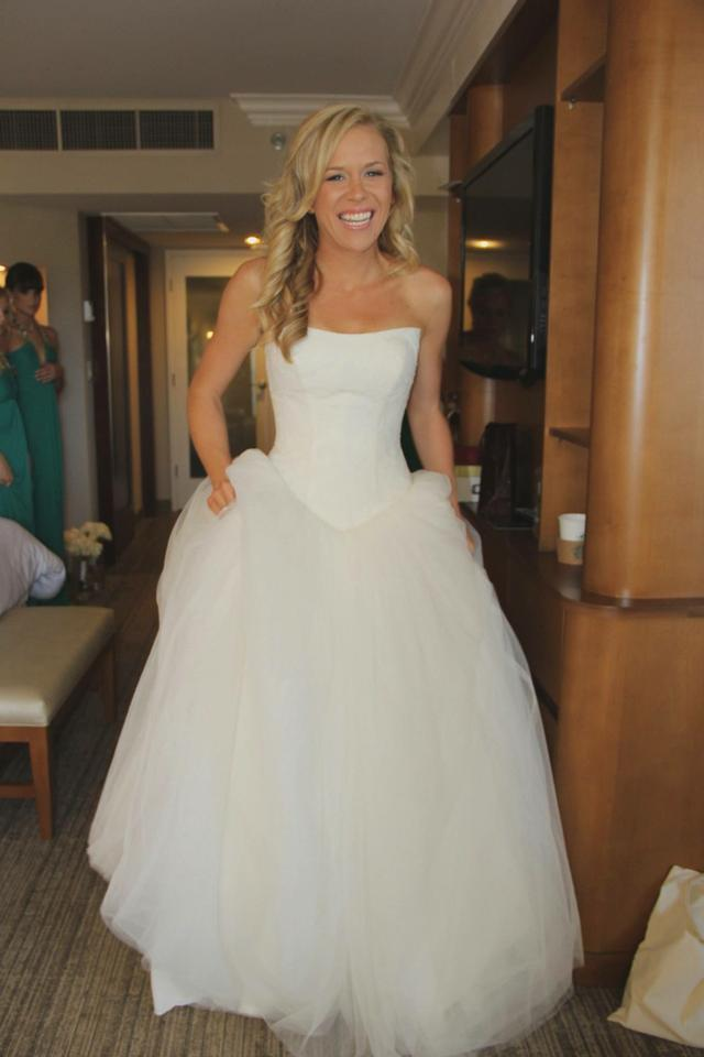 White by Vera Wang Ivory Chantilly Lace Tulle Ball Gown Formal ...