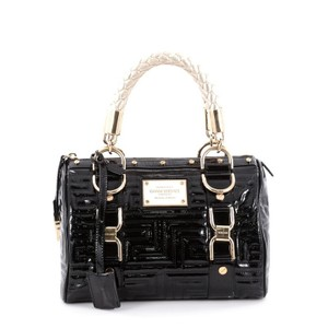 Versace Out Of It Patent Satchel in Black