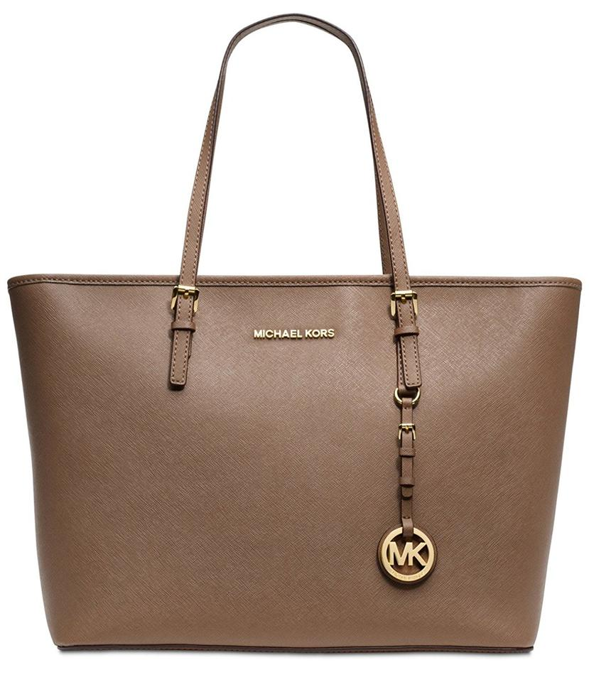63339b80f858 Michael Kors Jet Set Travel Top Zip - Dark Dune Leather Tote - Tradesy