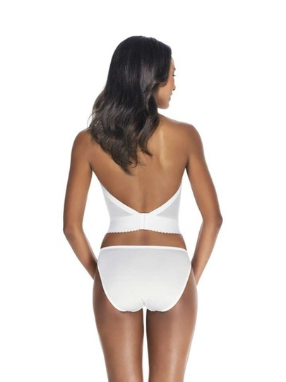 Dominique Dominique Backless Satin Longline Bra 6377 White 32B